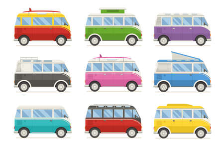 family van: Colorful camping bus collection. Travel vans in different colors. Set of recolored traveler coach minivan for camping. Bus for family summer trip. Vector van cartoon bundle. Rv camper isolated.