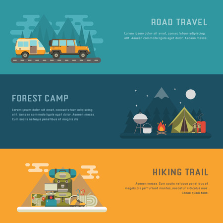 rv: Camping, hiking and trailering concept background with place for text. Campground, RV camper on road travel and mountain hiking concept banner templates. Illustration