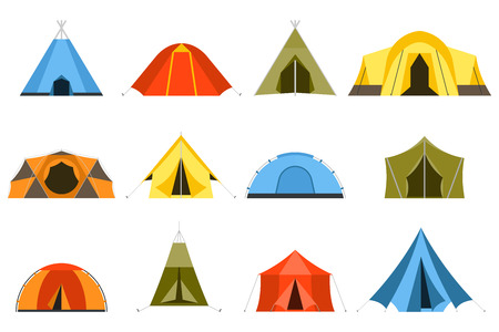 sport background: Camping tents vector icon. Triangle and dome flat design tents. Tourist hiking tents isolated on white background. Green, blue, yellow and blue colors. Vector tent pictograms. Illustration