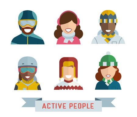 multinational: Outdoor activity guy and girl icons. Active people avatar set. Active man and woman in sportswear. Multinational world people in winter and spring clothes. People different races.