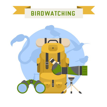ornithologist: Birdwatching tourism concept background. Birding summer travel elements with bird silhouettes. Birdwatching and birding lifestyle vector illustration. Illustration
