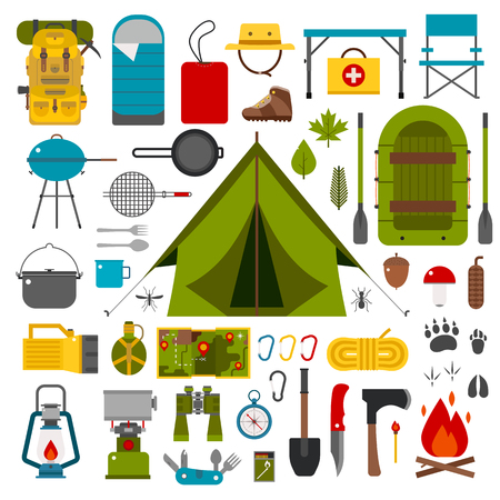 Camping icons collection. Camping kit of hike outdoor elements. Camping gear collection. Binoculars, bowl, barbecue, boat, lantern, shoes, hat, tent and other camping tools and items. Vector on white