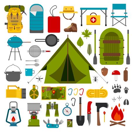Camping collezione di icone. Camping corredo di elementi esterni escursione. Camping collezione marcia. Binocolo, ciotola, barbecue, barca, lanterna, scarpe, cappello, tenda e altri strumenti di campeggio e oggetti. Vettoriale su bianco