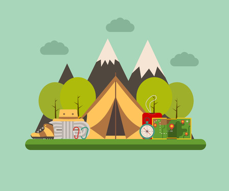 campground: Hiking and climbing concept background. Tramping elements on forest campground landscape. Camping tent, sleeping bag, compass, map, climbing rope, carabiners, tourist hat and shoes. Illustration