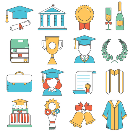 bachelor: Graduation outline vector icon set of celebration elements. Man and woman graduate in hats and celebrating education party line art. Graduation award  thin line icons collection for web and devices Illustration
