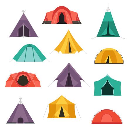 Camping tents vector icon. Triangle and dome flat design tents. Tourist hiking equipment isolated on white background. Green, blue, yellow and blue colors. Vector tent pictograms.