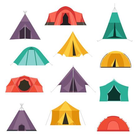캠핑 텐트 벡터 아이콘입니다. 삼각형 돔 플랫 디자인 텐트. 흰색 배경에 고립 된 관광 하이킹 장비. 녹색, 파란색, 노란색과 파란색 색상. 벡터 텐트 무 일러스트