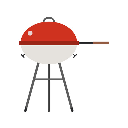 dinner party: Barbecue vector. Grill icon isolated on white background. Color barbecue pictogram. Grill cartoon image in flat style. Illustration