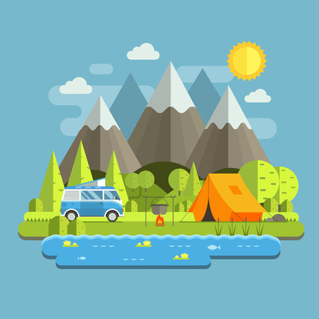 eco tourism: Campsite place in mountain lake area. Forest camping travel landscape with rv camper bus in flat design. Summer camp place with traveler bus vector illustration. National park auto trip campground.