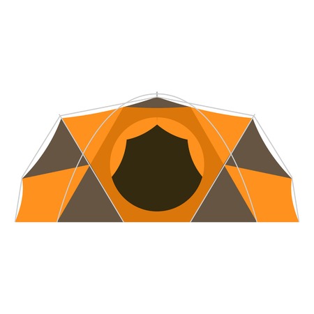 extreme weather: Camping dome vector icon in flat design. Tourist hiking equipment isolated on white background. Geodesic tent for extreme weather conditions pictogram.