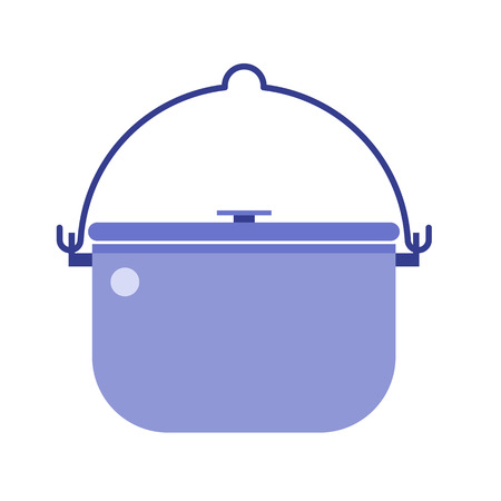 stainless steel pot: Camping bowl icon. Barbecue steel pot vector illustration. Hiking bowler pot isolated on white background. Camp bowl pictogram in flat design.
