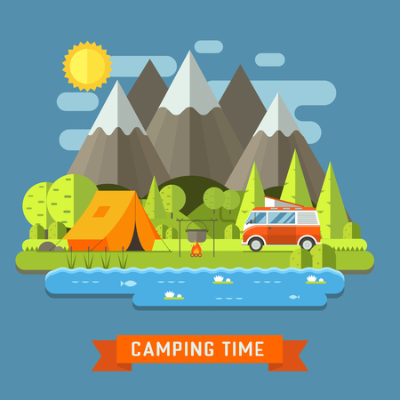 coach bus: Campsite place in mountain lake. Forest camping landscape with rv traveler bus in flat design. Summer camp place with camper caravan vector illustration. National park area auto travel campground.