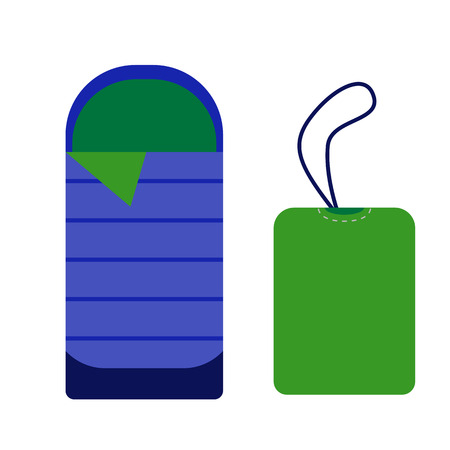 sleeping bags: Sleeping bag icon. Camping tourist bedroll isolated on white background. Hiking equipment for sleep. Vector rolled tent and bag pictogram in flat design. Illustration
