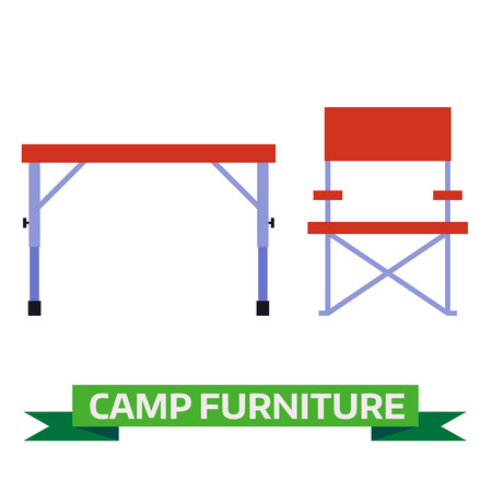displaced: Camping table and chair vector icons. Hiking folding furniture illustration isolated on white background. Tourist chair and table flat design pictogram. Illustration