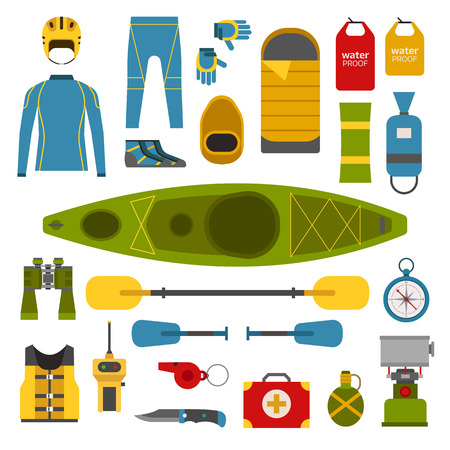 kayaking: Rafting and kayaking elements collection. Boating equipment. Life vest jacket, wetsuit, paddle, waterproof bag, rafting helmet vector pictograms. Kayak boat trip elements in flat design isolated.