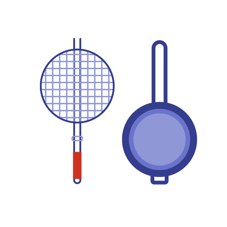 Barbecue brasero et icônes plats de cuisson. Appareil de cuisine vecteur brasero pictogramme design plat. pan Cartoon isolé sur fond blanc