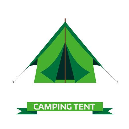 텐트 벡터 아이콘 캠핑. 삼각형 평면 디자인 텐트. 흰색 배경에 고립 된 관광 하이킹 장비. 그린 컬러 만화 텐트 그림.