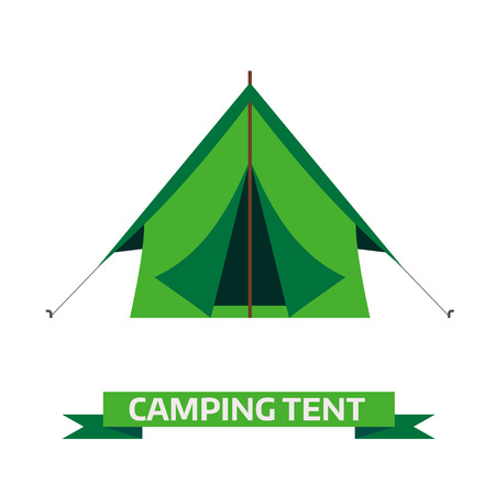Camping tent vector icon. Triangle flat design tent. Tourist hiking equipment isolated on white background. Green color cartoon tent pictogram.