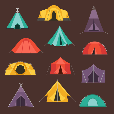 marquee tent: Camping tents vector icon. Triangle and dome flat design tents. Tourist hiking equipment isolated on white background. Green, blue, yellow and blue colors. Vector tent pictograms.