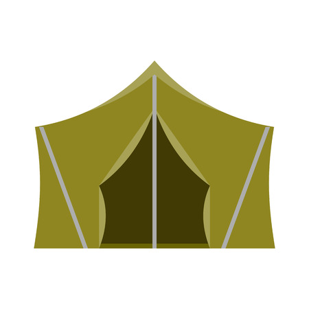 marquee tent: Camping vector icon. Flat design tepee. Tourist hiking marquee isolated on white background. Natural color basic ridge tent pictogram.