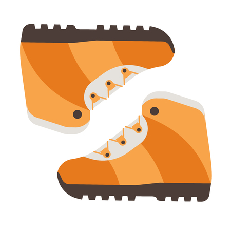 Tourist hiking boots icon. Trekking shoes vector. Outdoor activity boots isolated on white background Vetores