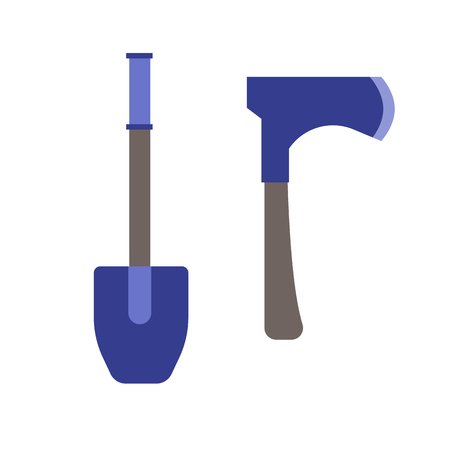 hatchet: Shovel and Hatchet axe vector icon isolated on white background. Tourist dig and axe elements in flat design. Illustration
