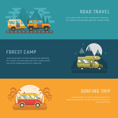 camper trailer: RV camping banners. Car summer trip backgrounds. Auto travel internet page. Mountain park, palm beach and road trip templates with place for text. Traveler bus, SUV and camper trailer concept cards. Illustration