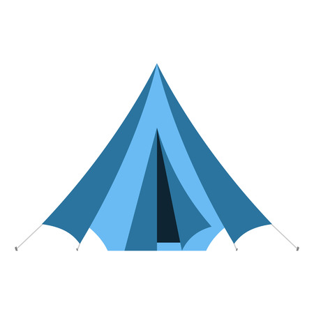 ridge: Camping vector icon. Flat design tepee. Tourist hiking marquee isolated on white background. Blue color basic ridge tent pictogram. Illustration
