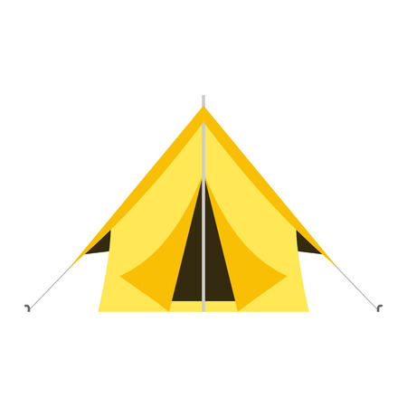 ridge: Camping vector icon. Flat design tepee. Tourist hiking marquee isolated on white background. Yellow color basic ridge tent pictogram.