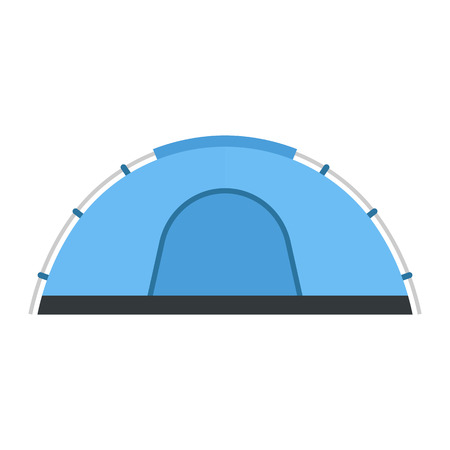 tepee: Camping vector icon. Flat design tepee. Tourist hiking equipment isolated on white background. Blue color cartoon dome tent pictogram.
