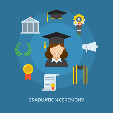 cartoon school girl: Graduation day concept with celebration cartoon elements. Happy student girl with icons of school, wreath, insignia, flowers, ribbon, graduational cap, diploma, megaphone and bell. Graduate woman smiling flat.