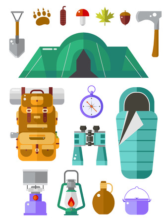 travel gear: Camping icons collection. Basecamp kit. Hiking equipment. Camp gear collection. Binoculars, pot, backpack, sleeping bag, lantern, compass, flask, tent and forest elements. Summer travel set.