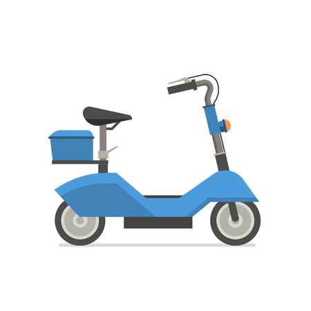Electric scooter illustration. Balance bike in blue color isolated on white background. E-scooter icon.