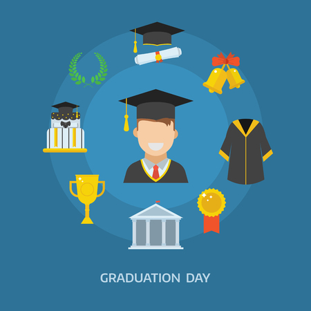 cap and gown: Graduation day concept with celebration cartoon elements. Happy student guy with icons of school, wreath, insignia, trophy, pie, graduational cap, diploma, gown and bell. Graduate man smiling flat.