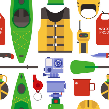 raft: Rafting and kayaking seamless pattern. River camping outdoor elements background. Raft equipment and gear backdrop.