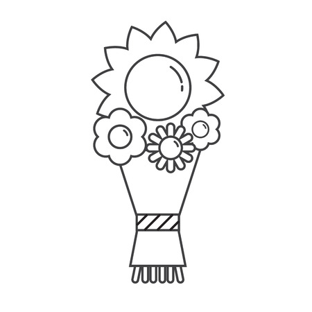 bouqet: Thin line flower bouqet icon with sunflower isolated on white background. Pictogram for website and applications
