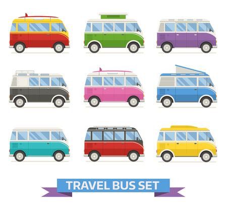 family van: Colorful camping van collection. Travel bus in different colors. Set of recolored traveler . for family summer trip. van cartoon bundle. Rv campers isolated on white background.
