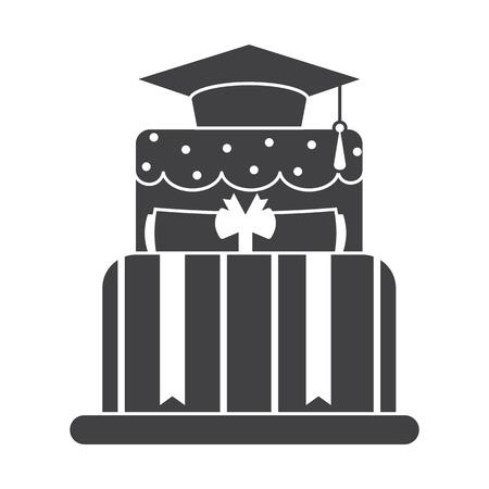 alumnus: Graduation cake silhouette outline design icon. Student day cake pictogram. Graduate pie shape black and white symbol. Illustration