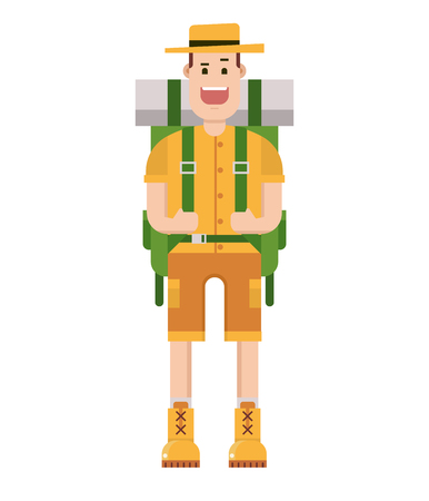 adventurer: Cartoon happy hiker with large backpack. backpacker man with tourist rucksack. Happy camper guy isolated on white background. traveler portrait image in hat and hiking boots in flat.