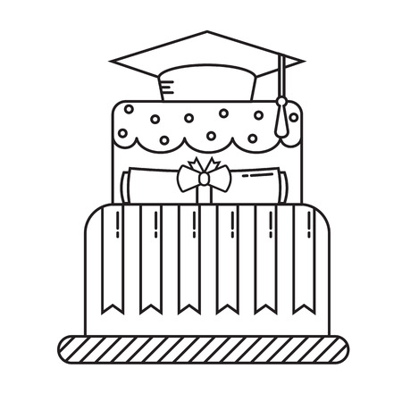 alumnus: Graduation cake line art design icon. Student day cake pictogram. Graduate pie thin line symbol. Illustration