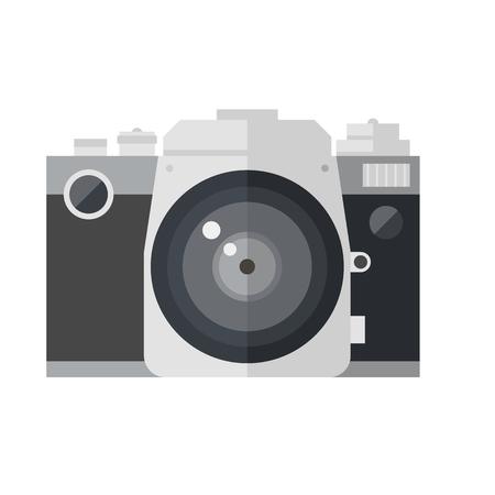 dslr: Retro DSLR camera isolated on white background. Photocamera icon .