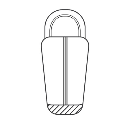 polyester: Sleeping bag outline vector icon. Camping tourist bedroll isolated on white background. Hiking equipment for sleep pictogram in thin line design.