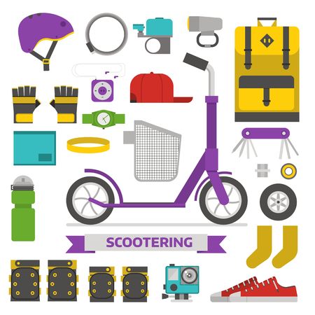 foldable: Roller scooter equipment set. Kick bike lifestyle elements. Eco wheel and scooterist essentials. Protection, helmet, rucksack, cap, boots, repairing kit and other cycling vector icons isolated.