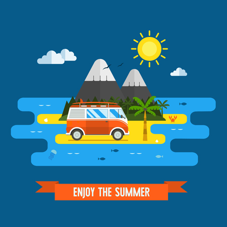 tourist bus: Tropical island landscape in flat design. Summer trip vacation background with red tourist bus, palm beach, surf and mountains. Surfing place concept postcard for tourism websites and applications.