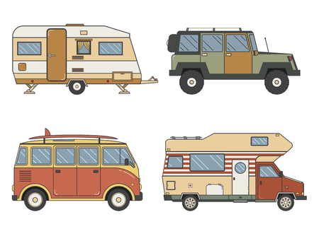 tourist bus: RV travel auto set. Camping trailer family camper collection in line art design. Traveler trucks outline car pictograms. Tourist bus, SUV, minivan and caravan single line icons.