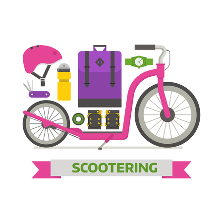 wristband: Roller scooter equipment set. Girl kickbike lifestyle elements.Woman Balance bike and scootering accessories. Protection, backpack, cap, boots, music player and wristband. City outdoor activity essentials.