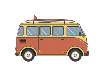 omnibus: Travel omnibus family camper thin line. Traveler truck tourist bus outline icon. RV travel surfing bus black and white vector pictogram isolated on white. Illustration