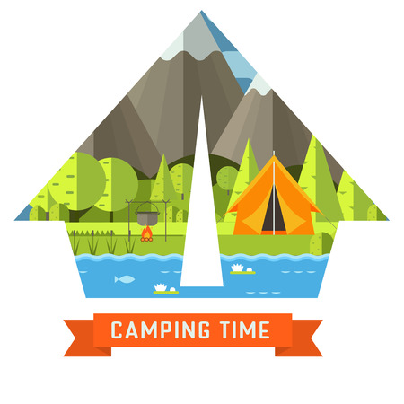 campsite: Mountain lake campsite place in tourist tent shape. Forest hiking travel landscape in concept contour. Summer camp postcard vector illustration. Love camping time adventure invitation isolated.