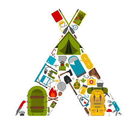 hike: Camping icons in tourist tent shape. Love hiking concept with vector hiking elements. Summer outdoor activity and travel. Water hike or boat trip equipment. Backpacking tourism gear and appliances.