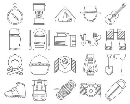 hike: Camping outline icons collection. Hike outdoor elements set in thin line design. Hiking gear and essentials lineart collection. Vector linear camp equipment pictograms isolated on white background.
